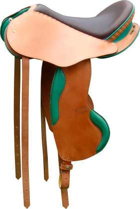 selle equitation hugues petel avenir caramel chocolat vert