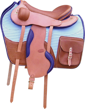 FLASH coloris caramel / bleu, avec tapis avec poches selle equitation hugues petel