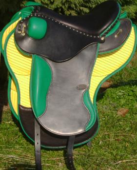 LIGHT coloris noir / vert, avec quartiers et tapis selle equitation hugues petel