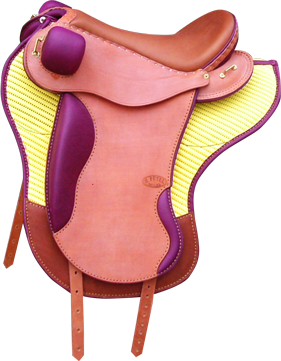 PERFORMANCE coloris caramel / prune, avec tapis selle equitation hugues petel